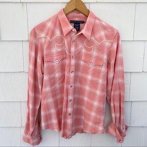 Ralph Lauren Western Snap Pink Embroidered Shirt